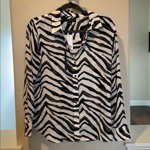 Banana Republic zebra print blouse size S